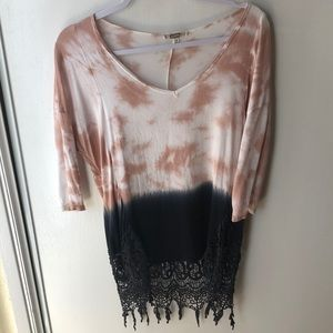 Tie die dipped lace T-shirt